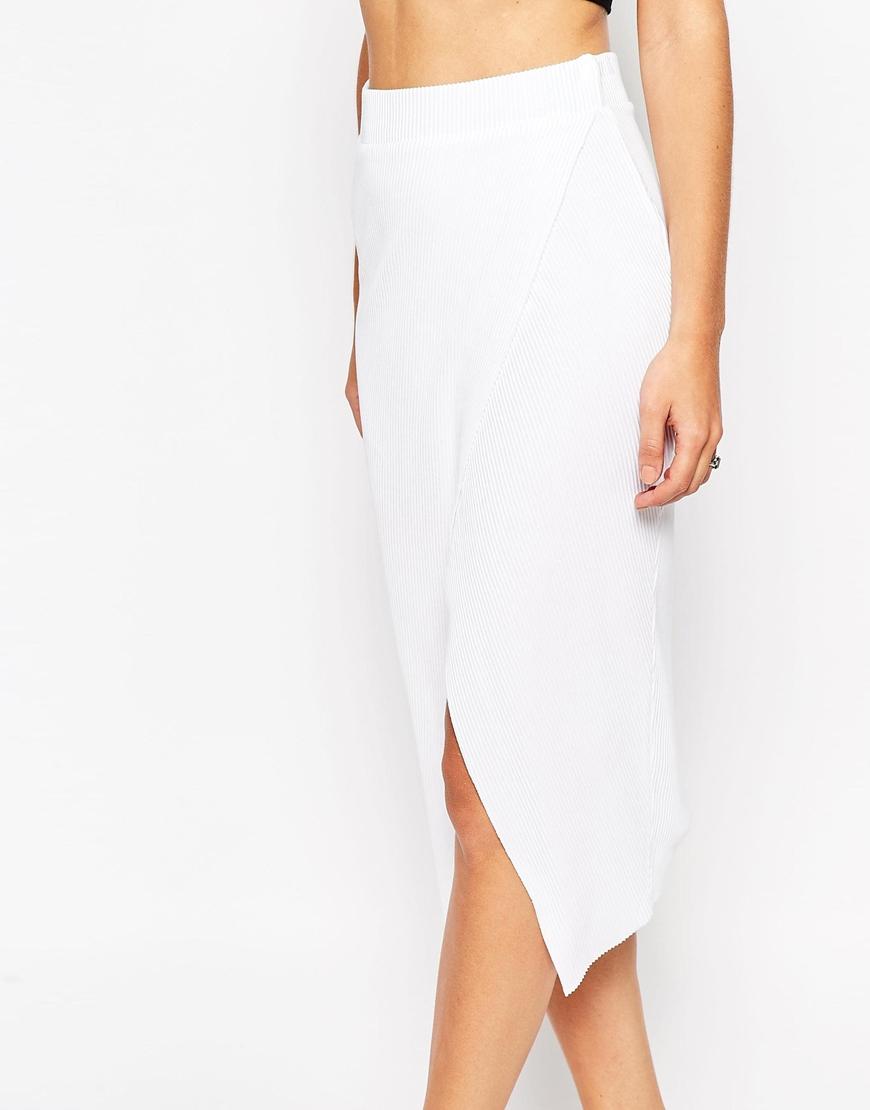 asos rib wrap midi pencil skirt white in white lyst
