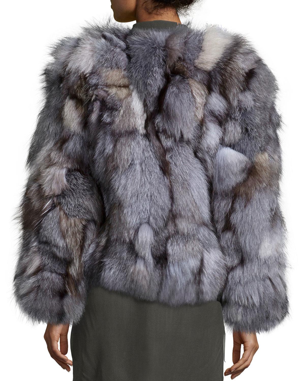 Lyst Alice Olivia Graye Open Front Fox Fur Coat In Gray