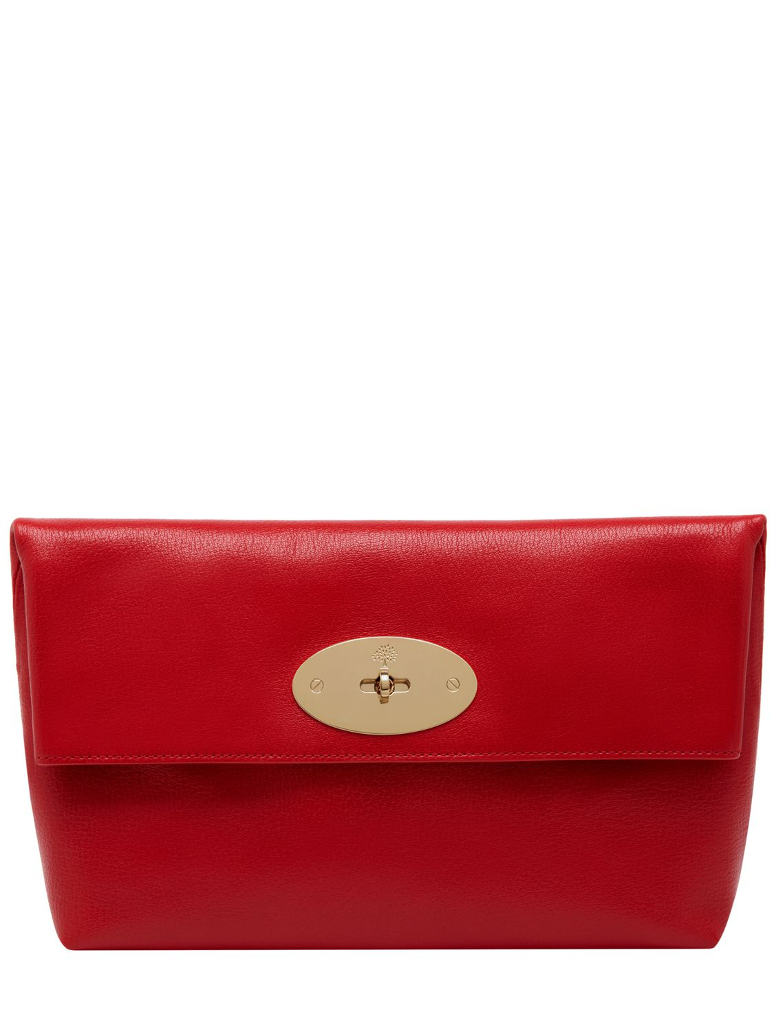 f2416d924aad Lyst - Mulberry Oversized Clemmie Shiny Leather Clutch in Red