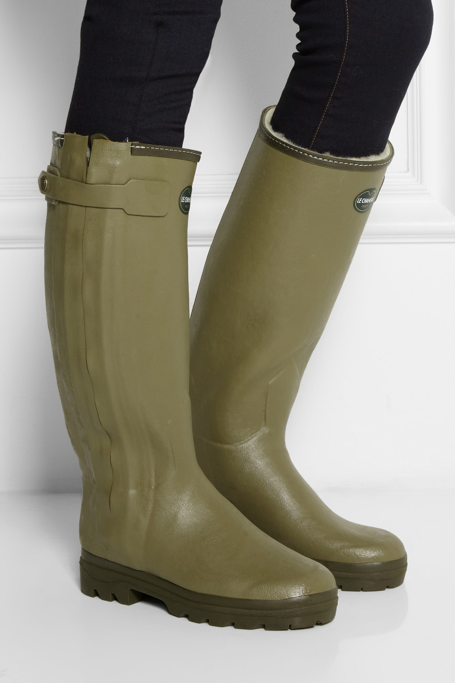 Le chameau Chasseur Shearling-Lined Rubber Rain Boots in Green | Lyst