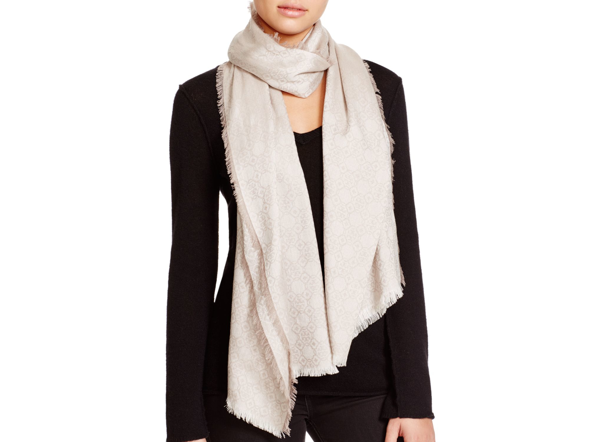 Lyst Tory Burch Mosaic Logo Jacquard Scarf In White