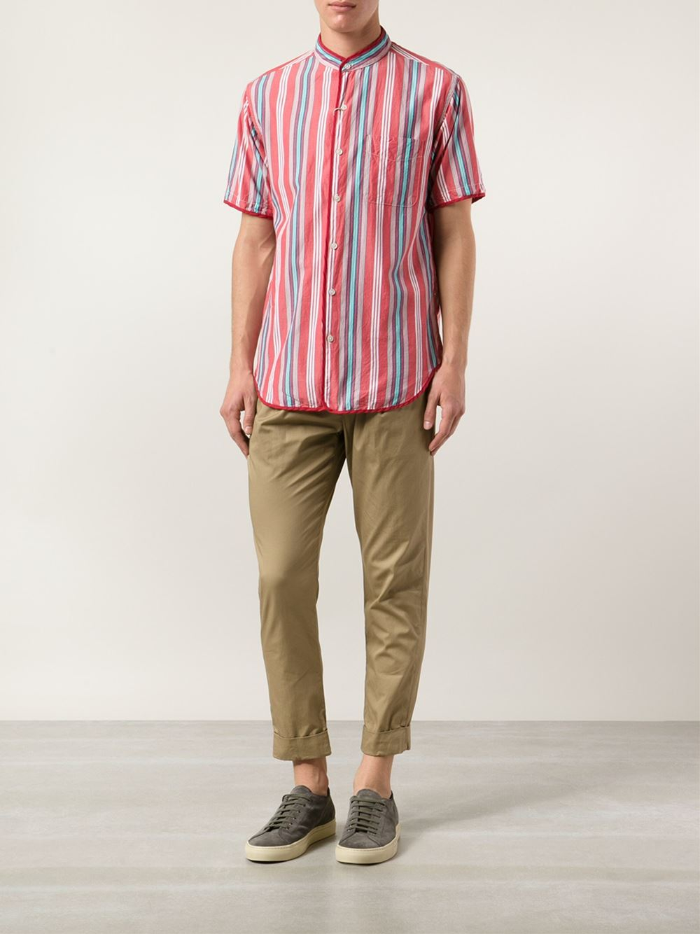 Engineered Garments Tapered Cropped Trousers in Natural for Men