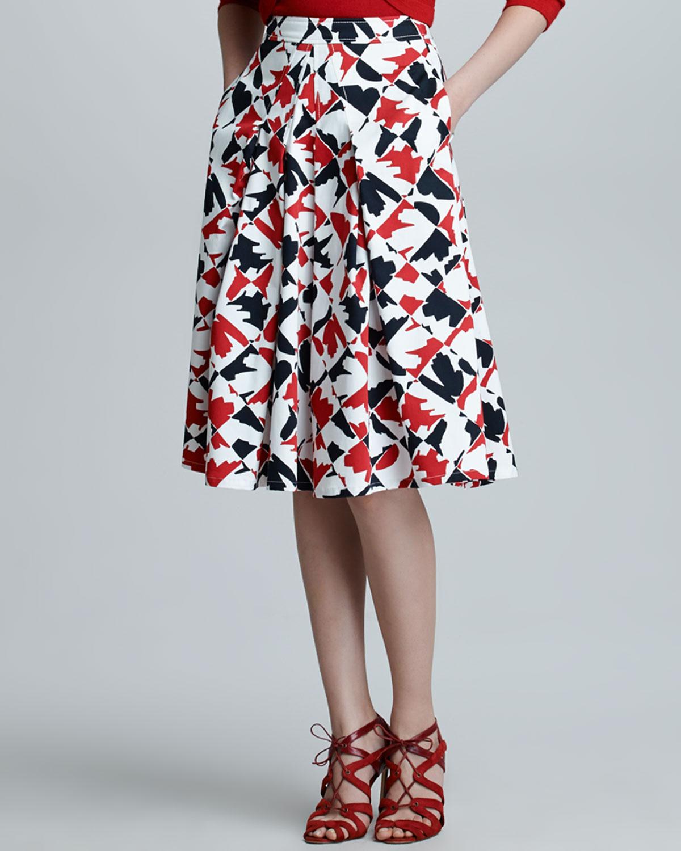 Carolina herrera Diamondprint Aline Skirt in Red | Lyst