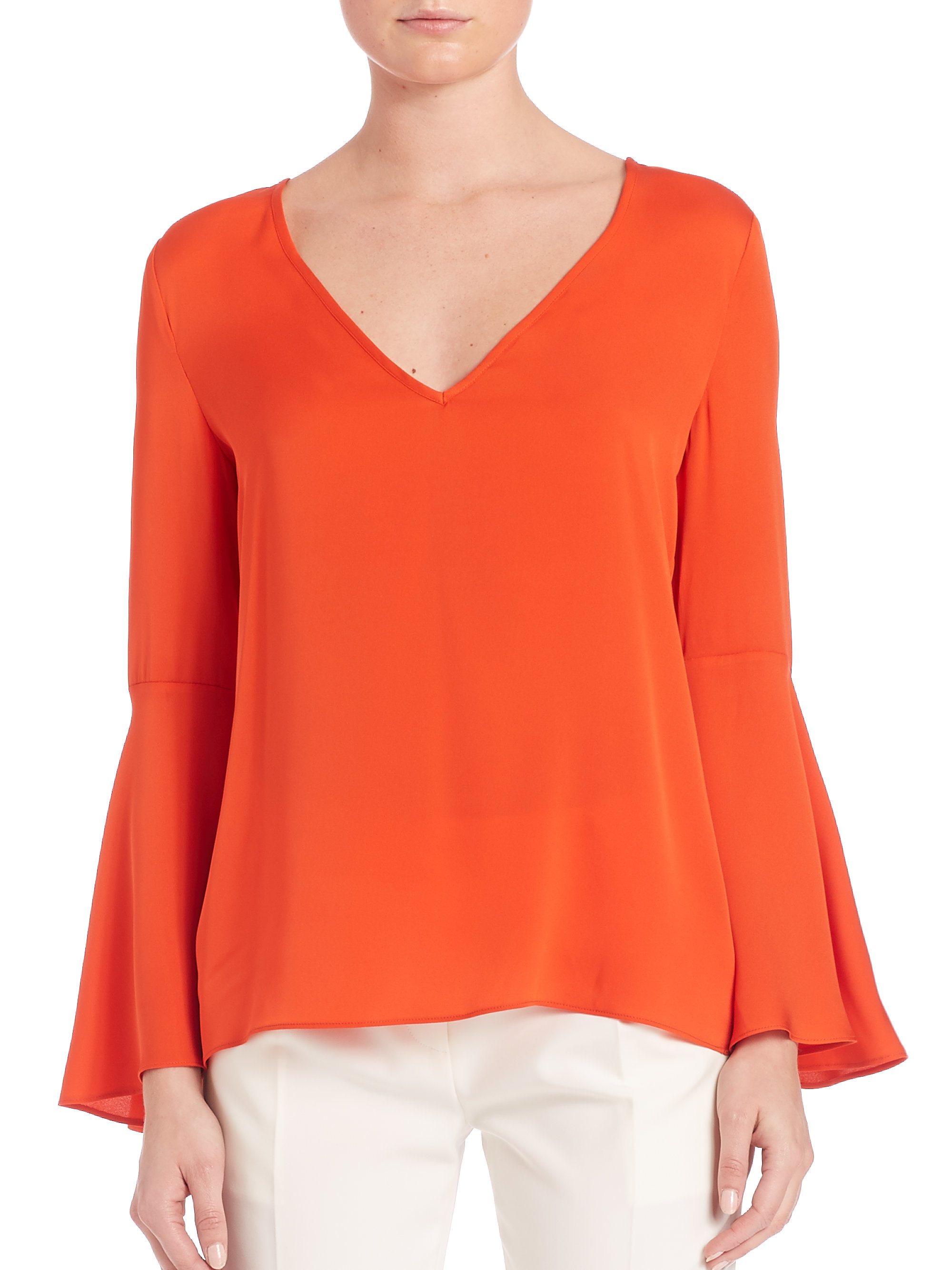 1861d4dc96f5c9 Lyst - Milly Flared-Sleeve Stretch-Silk Top in Red
