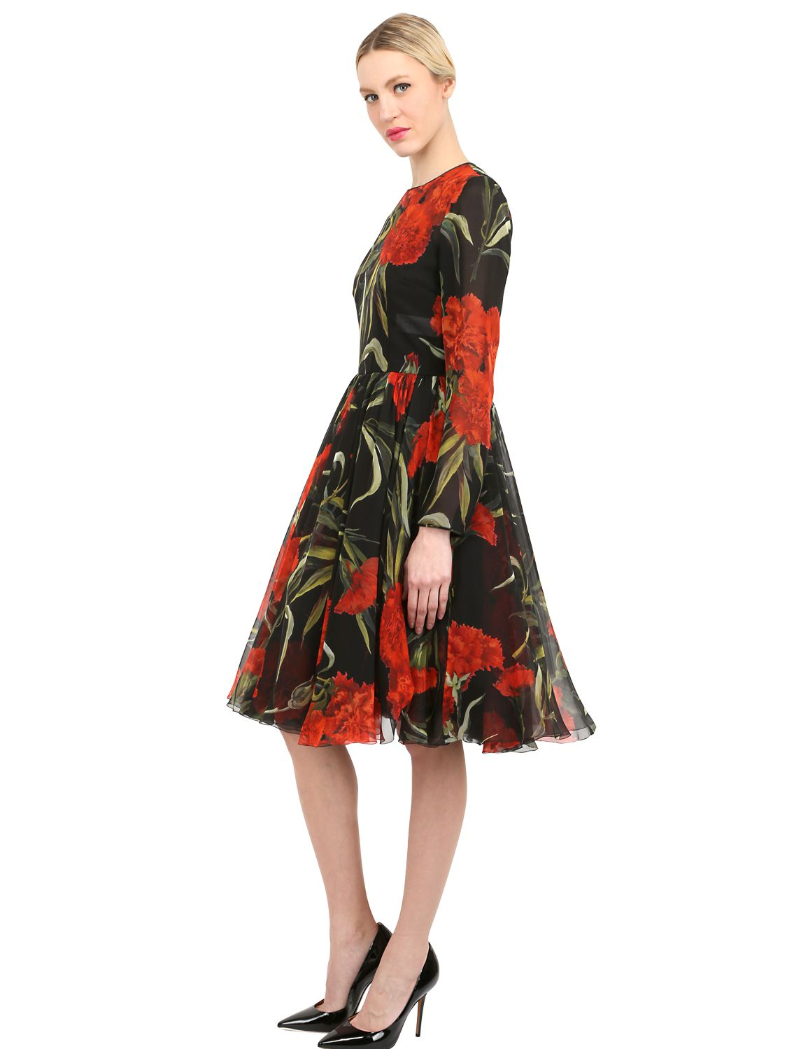 51e125aafb Dolce   Gabbana Floral Printed Silk Chiffon Dress - Lyst