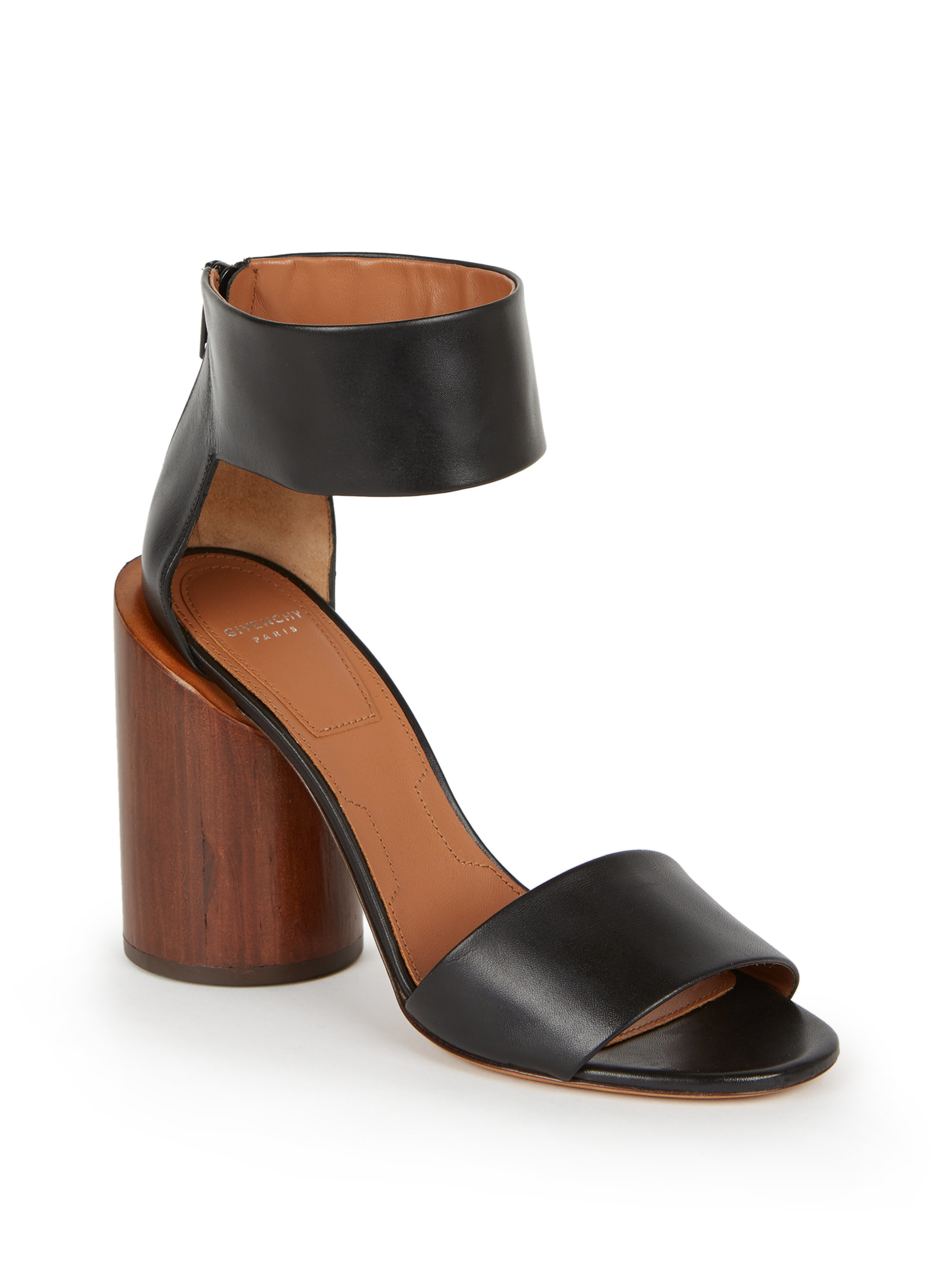 e55226b43 Givenchy 105mm Ankle-strap Leather & Wood Sandals in Black - Lyst