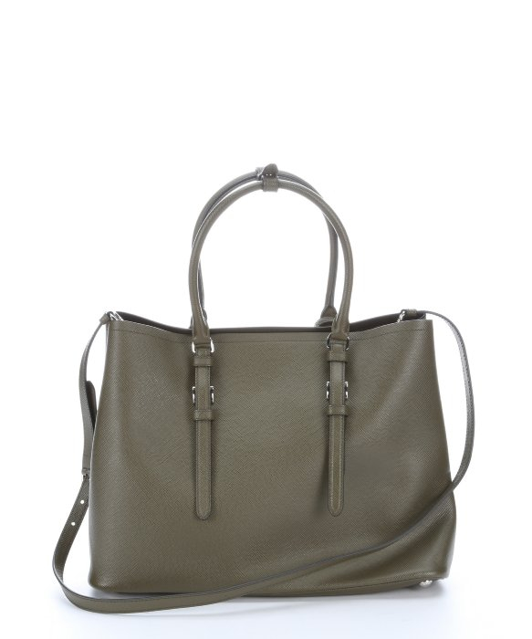 bf057a35142 clearance bethenny frankel prada galleria tote 3c856 ffebe  best price lyst  prada military green saffiano leather convertible tote bag in 1a540 ddf4c