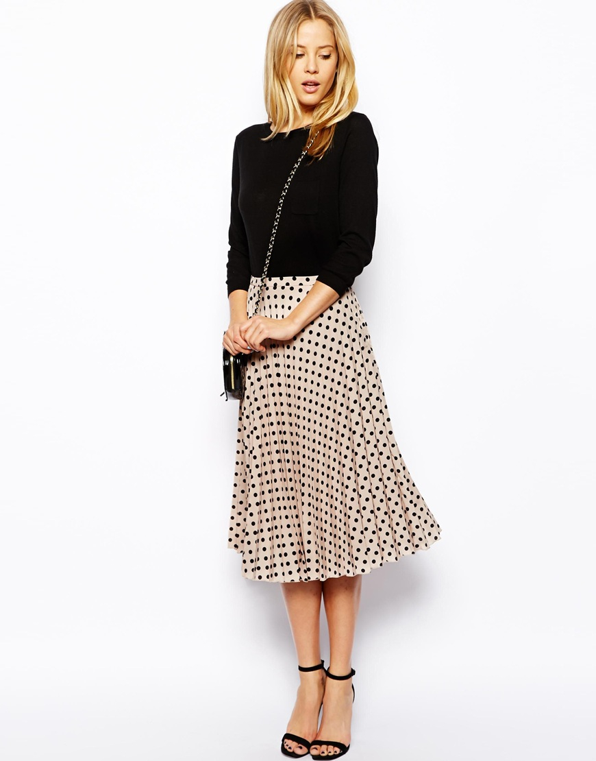 wide selection of colours and designs classcic low price sale ASOS Spot Pleat Midi Skirt in Black - Lyst