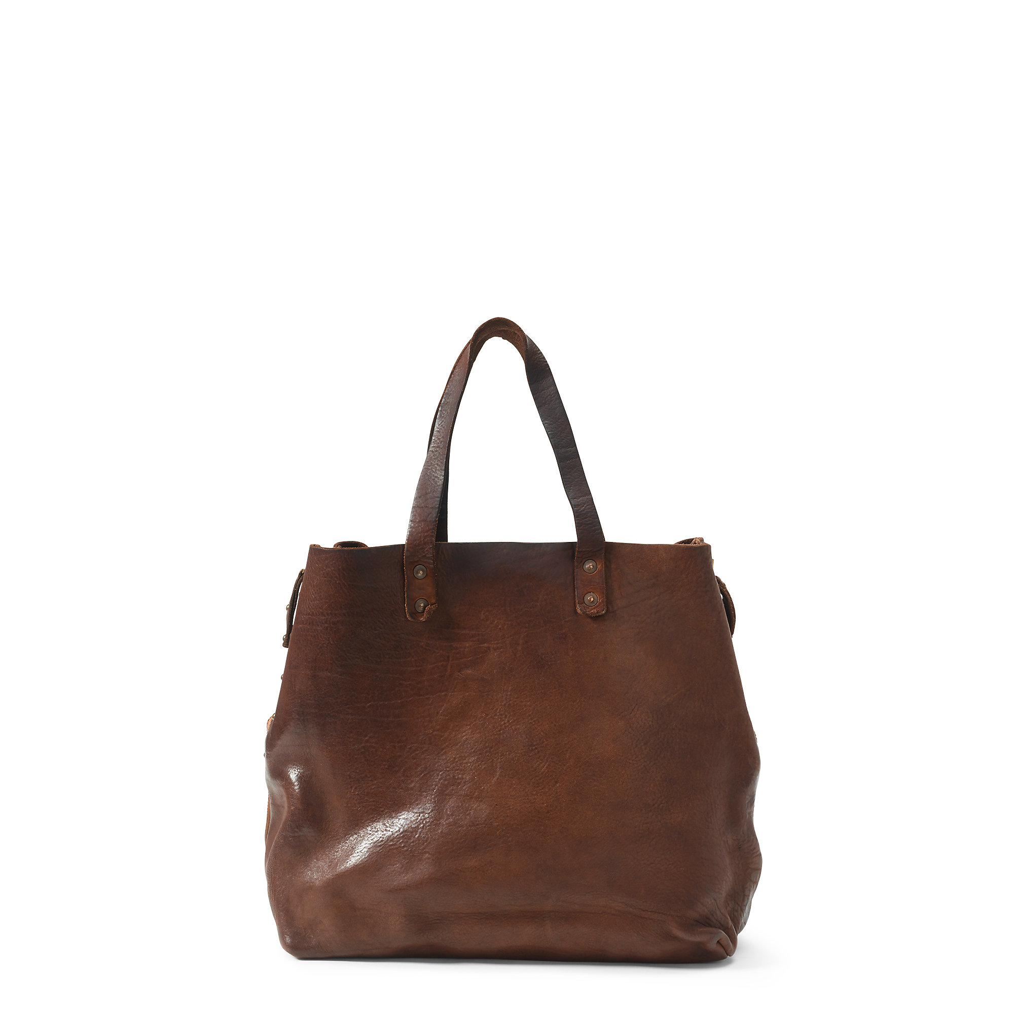 c340363568 Lyst - Polo Ralph Lauren Large Burnished Leather Tote in Brown