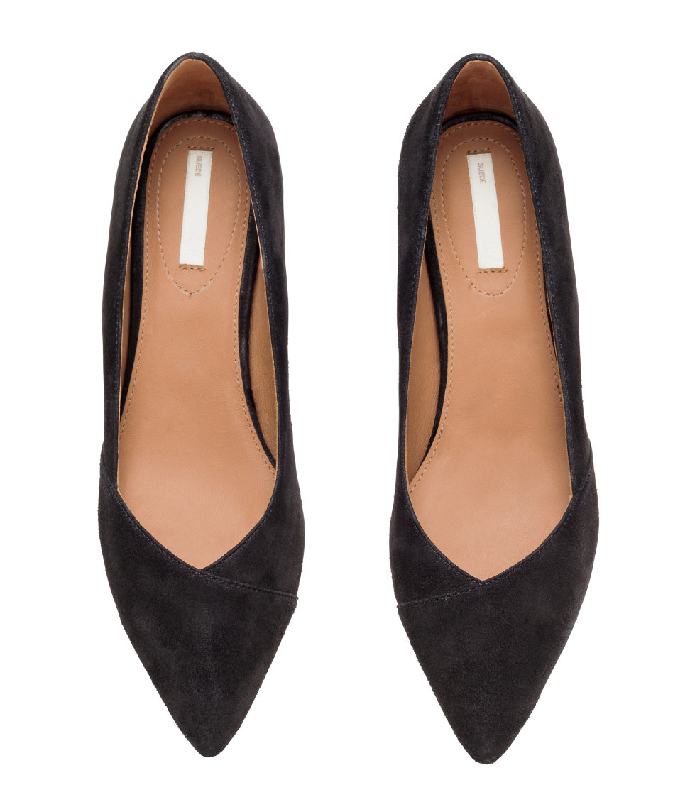 Black Suede Kitten Heel Pumps - Is Heel