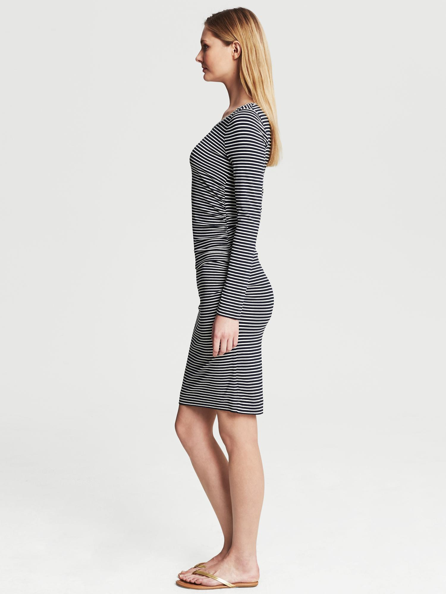 Banana Republic Ruched Navy Striped Dress In Blue Lyst