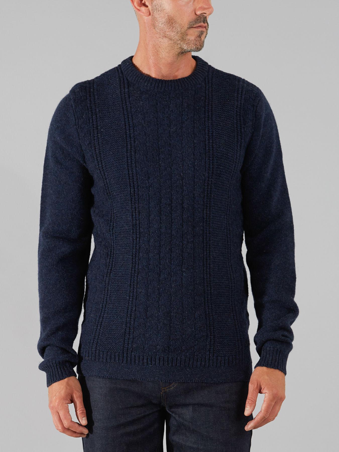Farah Wool The Chelmorton Cable Crew in Dark Navy Marl (Blue) for Men