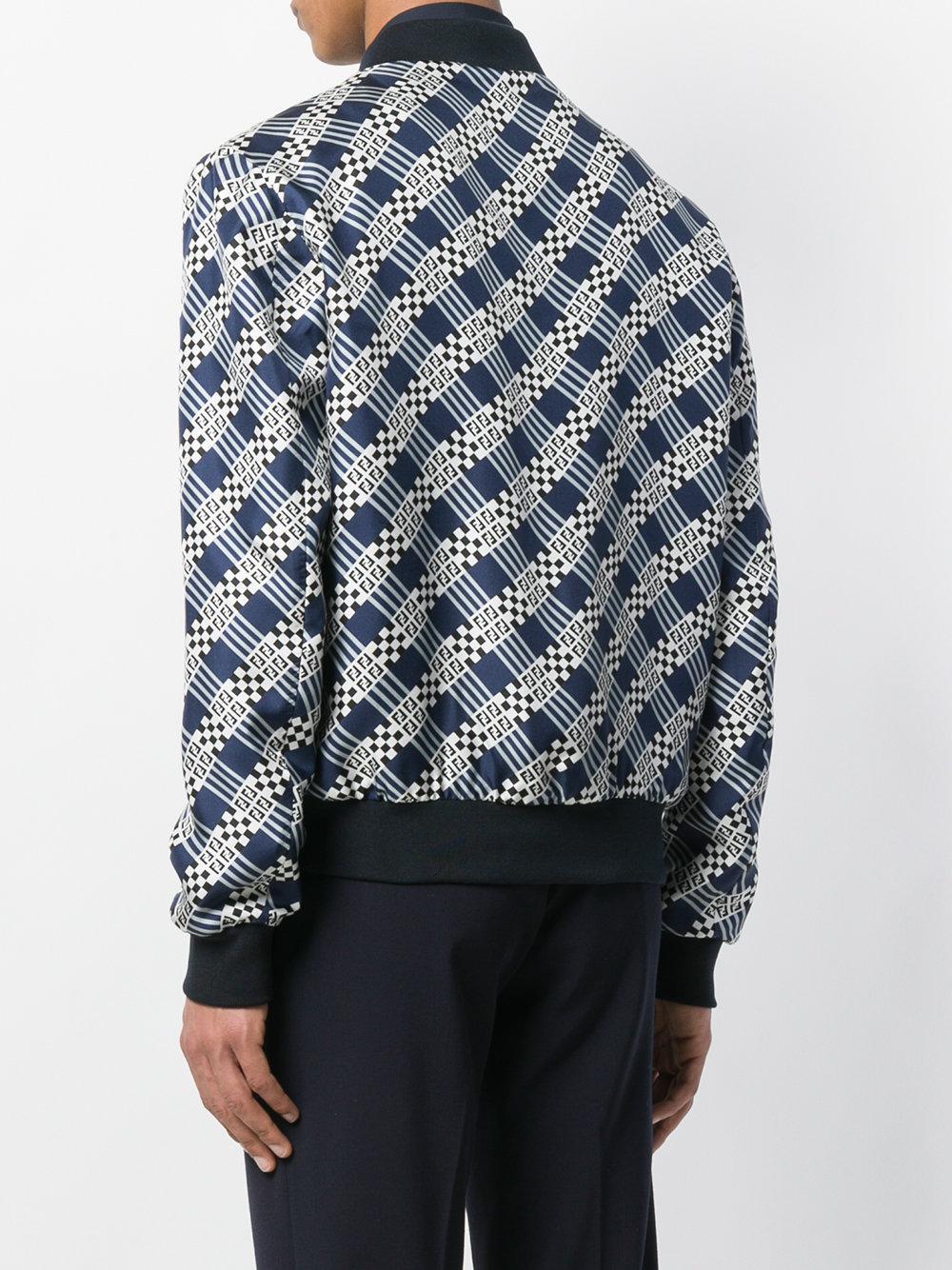 Fendi Silk Zipped Bomber Jacket in Blue for Men