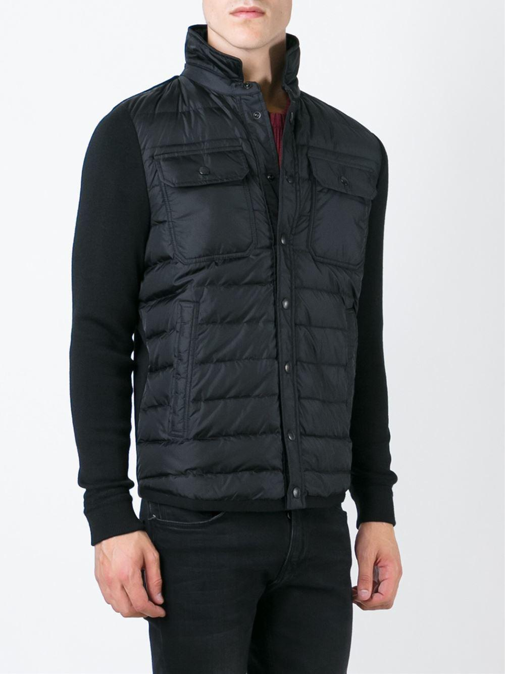Moncler Wool Padded Knitted Jacket in Black for Men