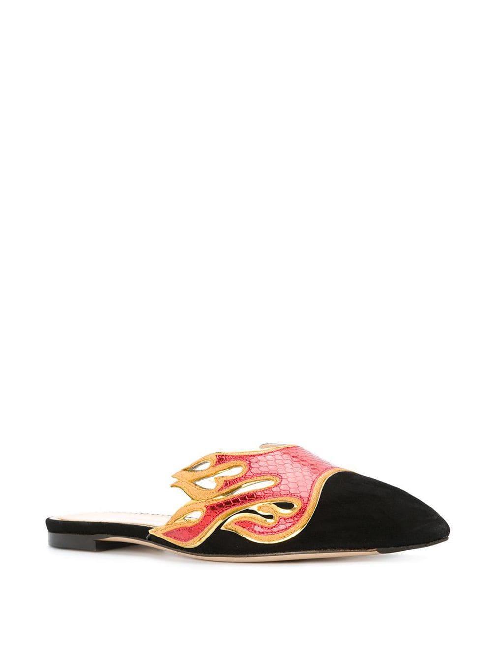 Mules Inferno estilo slippers Charlotte Olympia de Ante de color Rojo