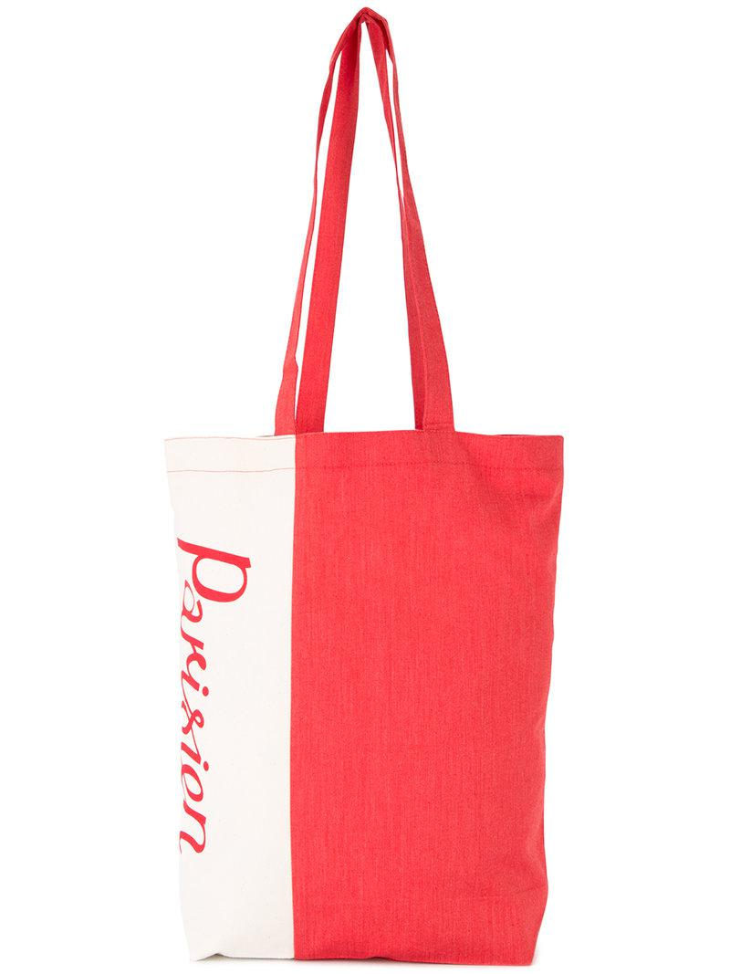 92c25ab8e70 Maison Kitsuné Parisien Print Tote in Red for Men - Lyst