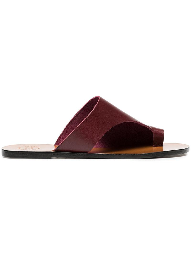 brown Rosa leather flat sandals - Red ATP Atelier