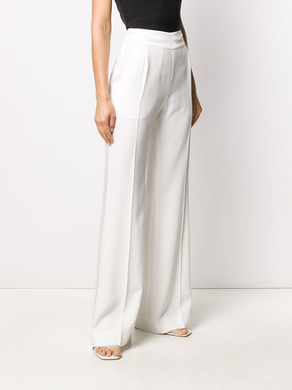 Pantalones palazzo de talle alto Alberta Ferretti de Tejido sintético de color Blanco