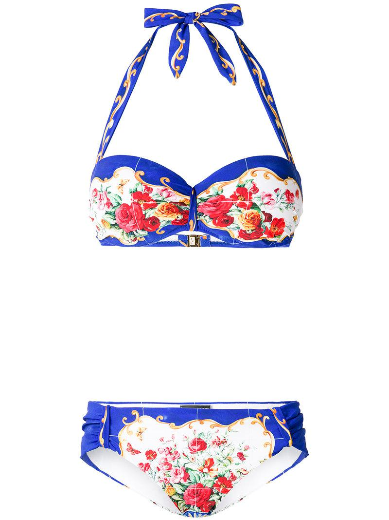 8a371d9104 Lyst - Dolce   Gabbana Majolica Print Bikini in Blue