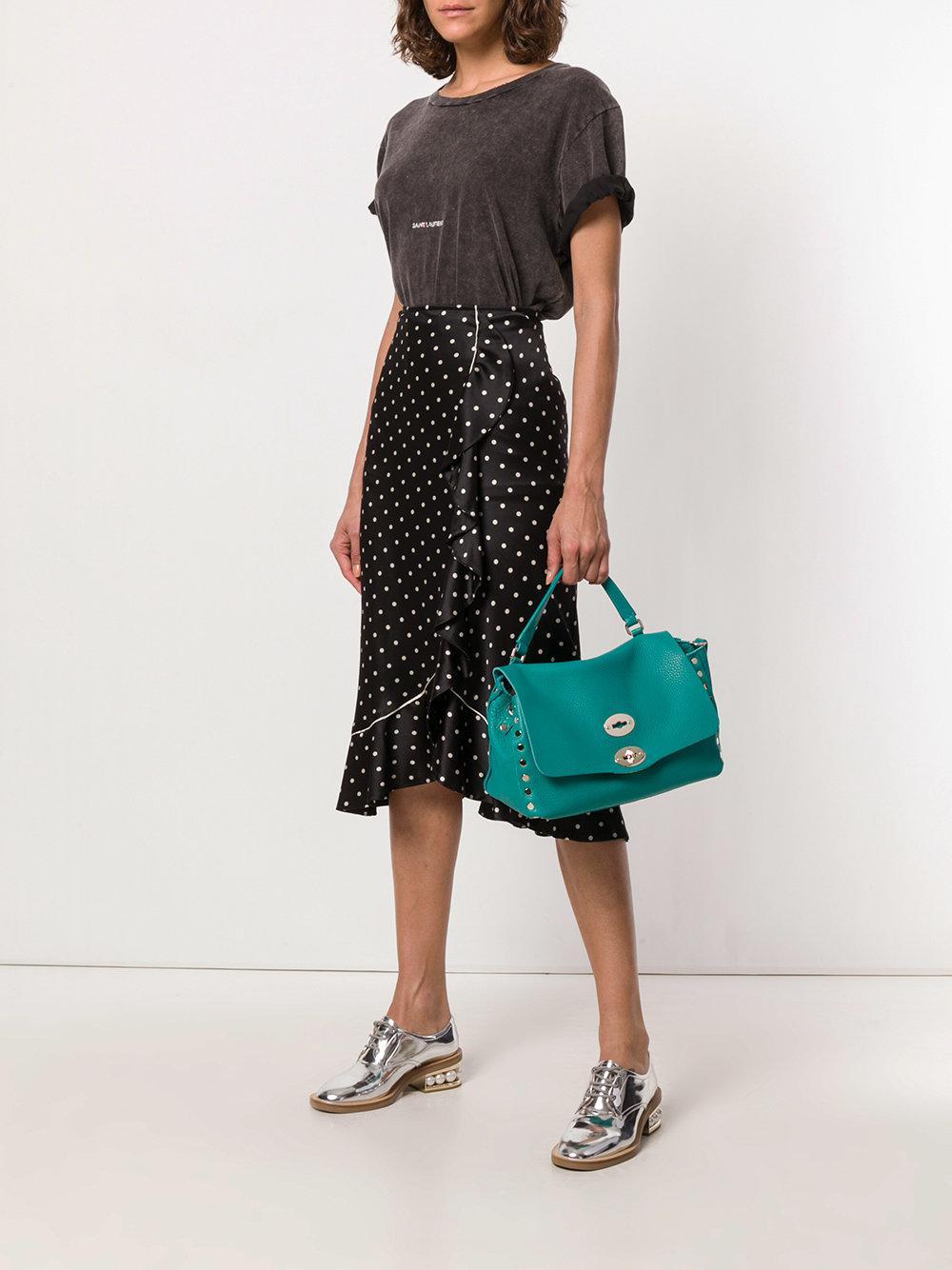 Zanellato Leather Postina Studded Tote Bag in Blue