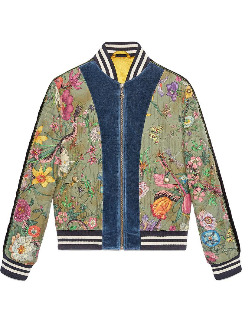 f2544e2add61 Lyst - Gucci Flora Snake Print Silk Bomber Jacket in Green for Men