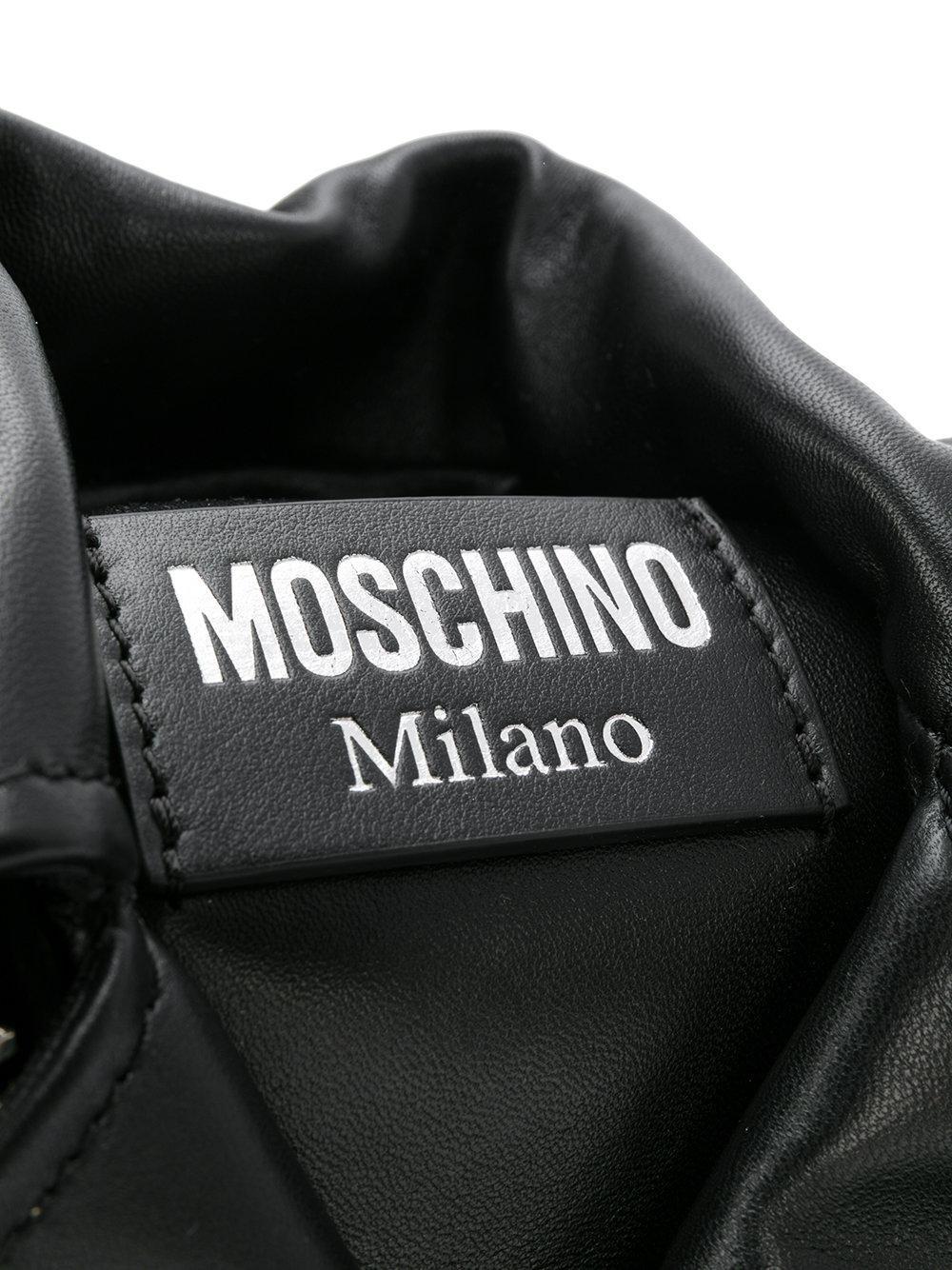 Moschino Leather Bow Biker Jacket Cross Body Bag in Black