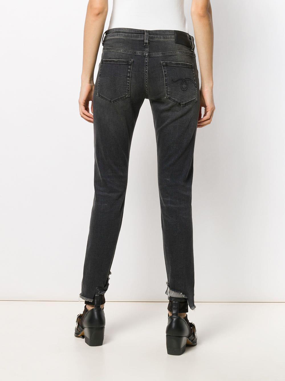 Pantalones con detalles rasgados R13 de Algodón de color Gris