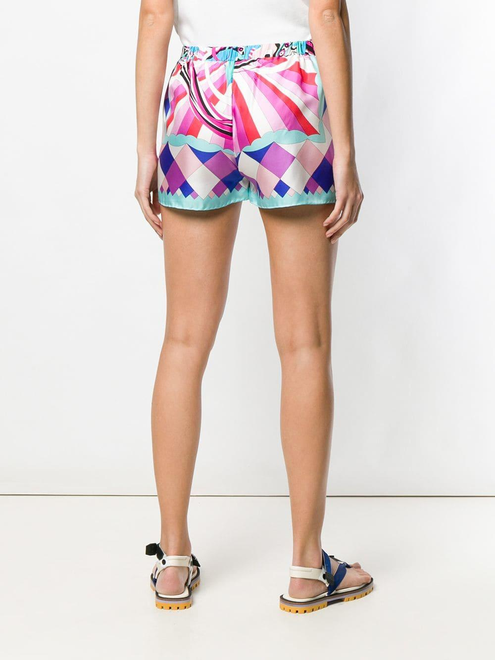 4e6642e605f7 Emilio Pucci - Pink Merida Print Silk Shorts - Lyst. View fullscreen