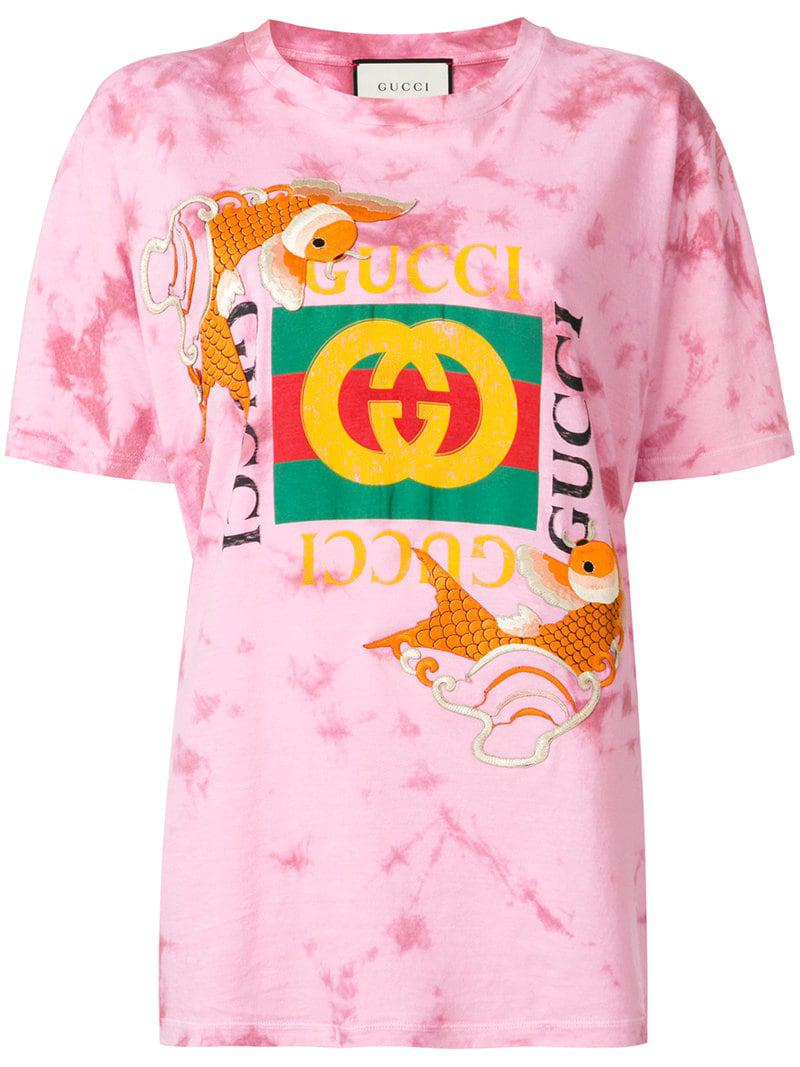 2fdfefe5e Gucci - Pink Fish Embroidered Logo T-shirt - Lyst. View fullscreen