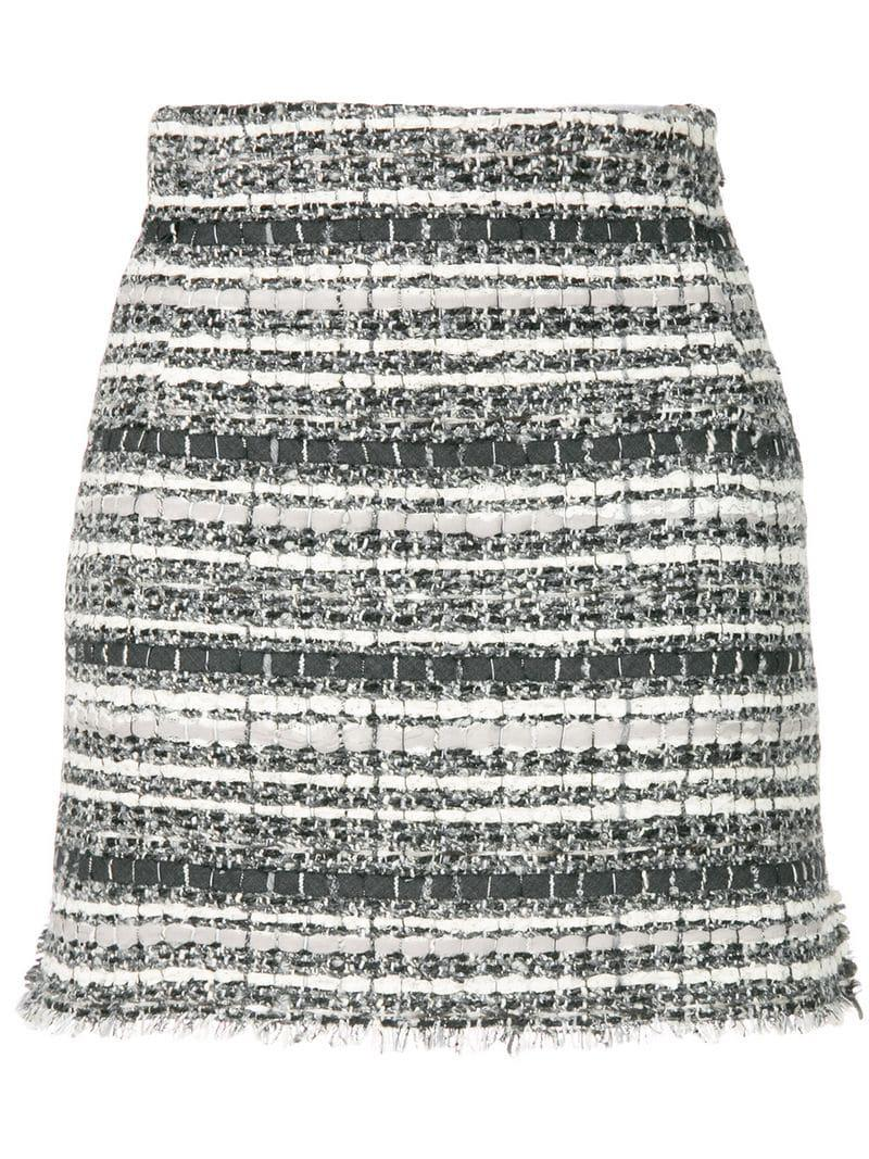 12cd1a32046 Lyst - Thom Browne Banker Stripe Lace Ribbon Mini Skirt in Gray