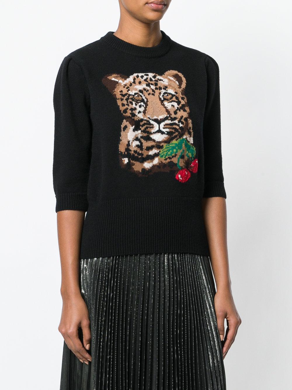 Dolce À Noir amp; Et Cerises Motif Gabbana De Tigre Pull Z7ZtrO
