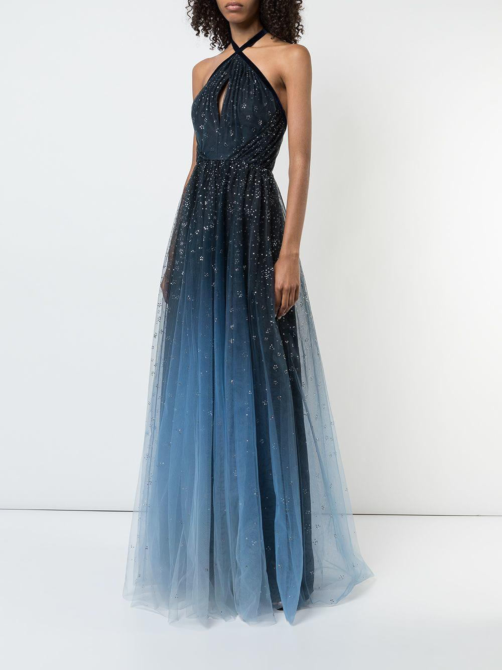 257bcd7538 Marchesa notte Ombré Glitter Tulle Halter Gown in Blue - Save 25% - Lyst