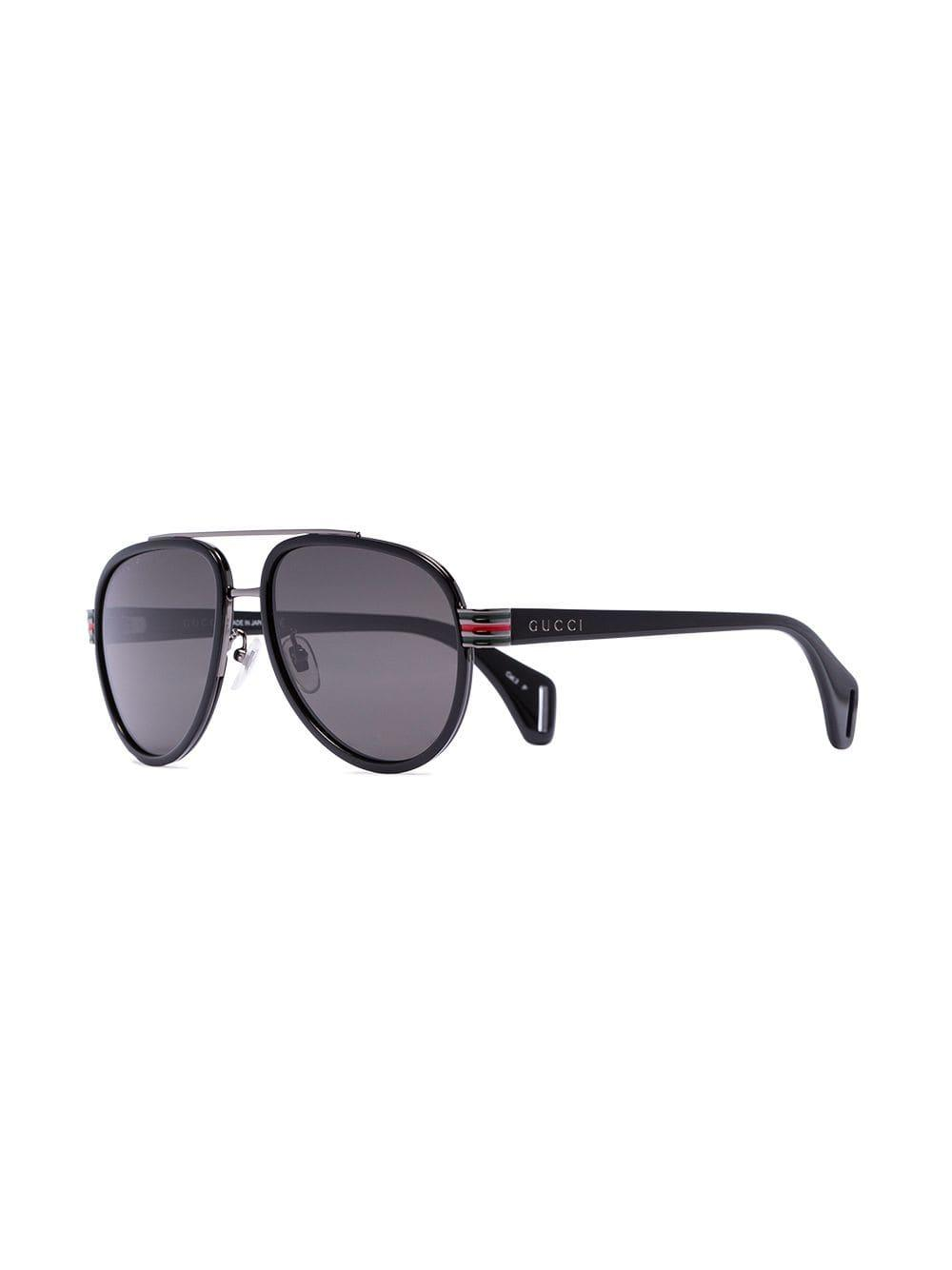 ad5e08d204 Gucci Black Tinted Lens Aviator Sunglasses in Black for Men - Lyst