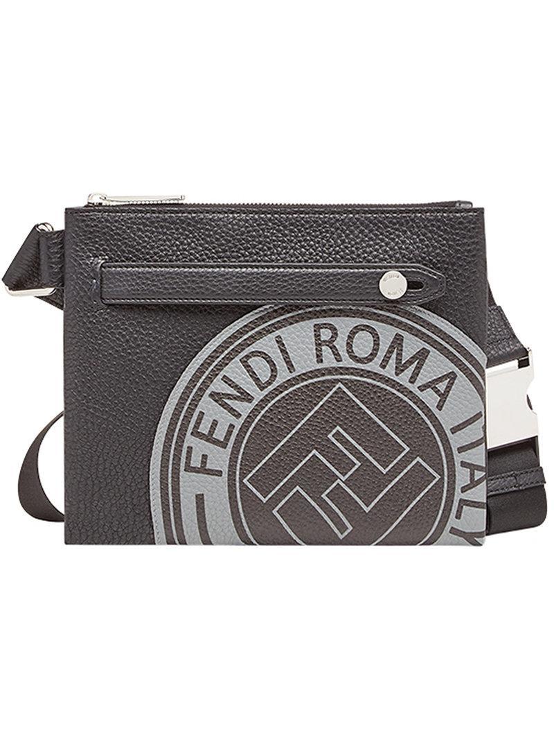 cde906e1367d Fendi Logo Print Messenger Bag in Black for Men - Lyst