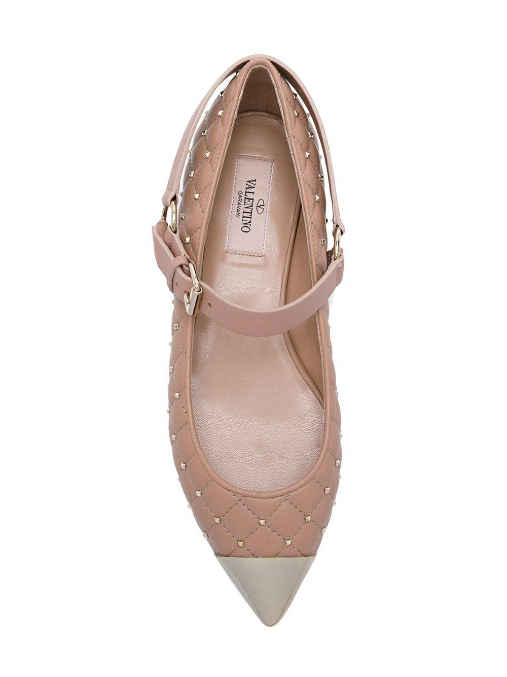 fe690bded64b Valentino - Pink Garavani Rockstud Spike Ballerinas - Lyst. View fullscreen