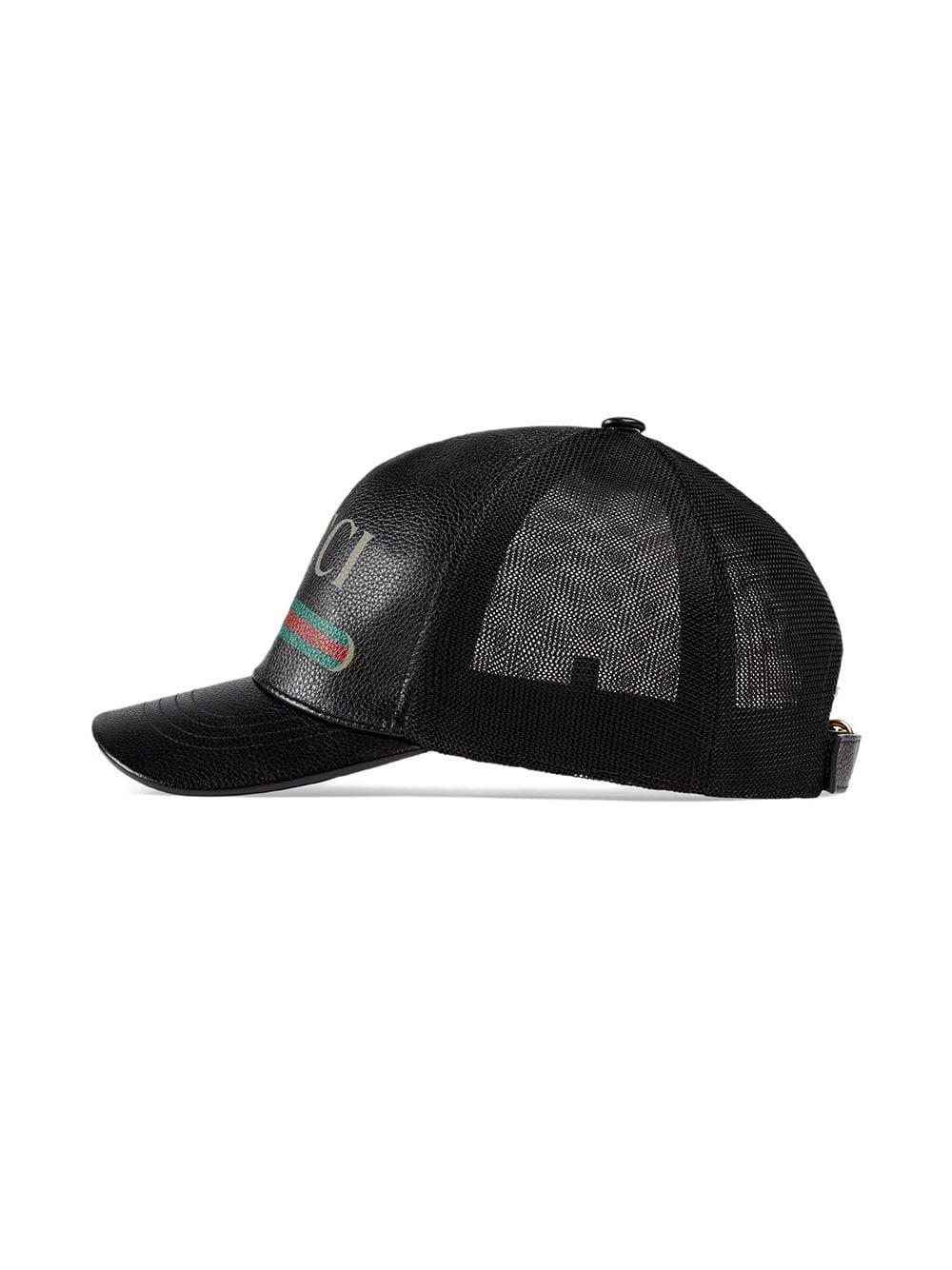 Gucci - Black Print Leather Baseball Hat for Men - Lyst. View fullscreen 144c4fcd0249