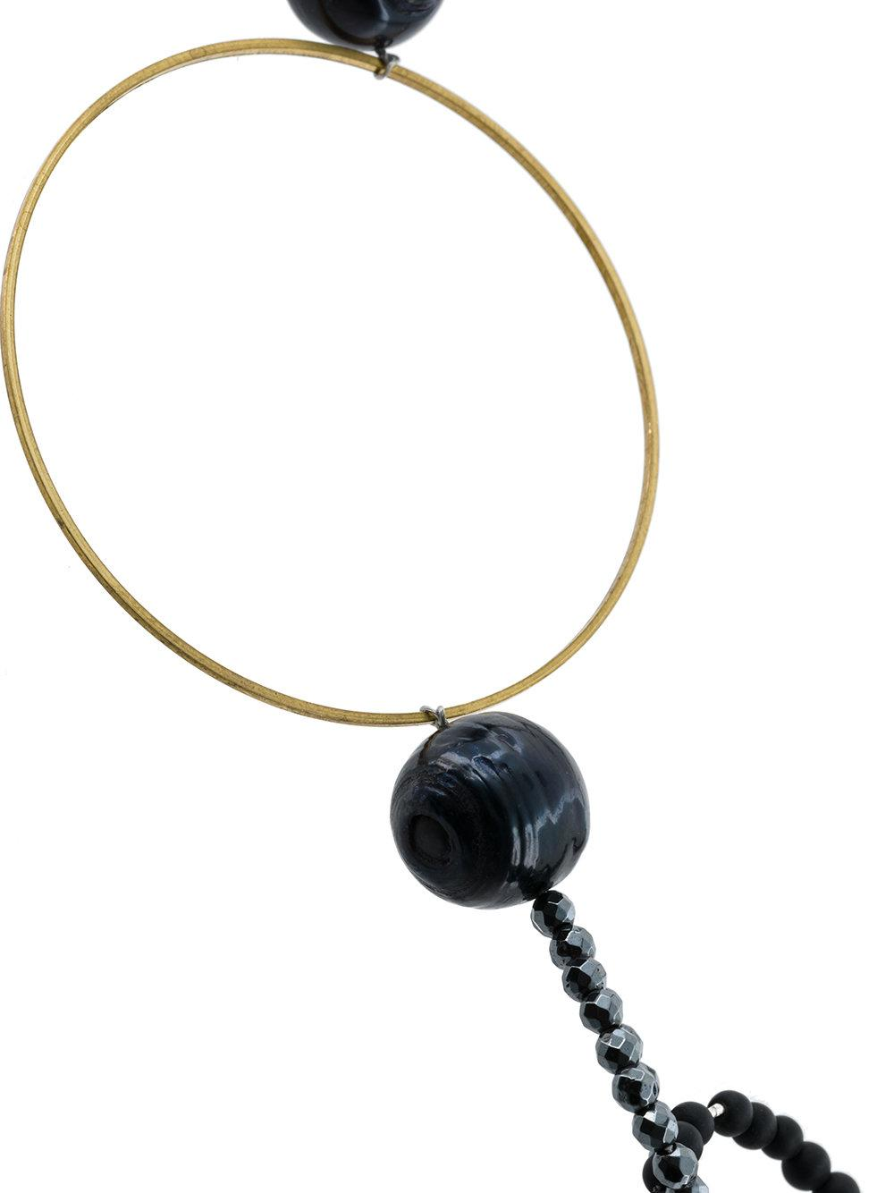 Night Market Bead And Ring Long Necklace in Black