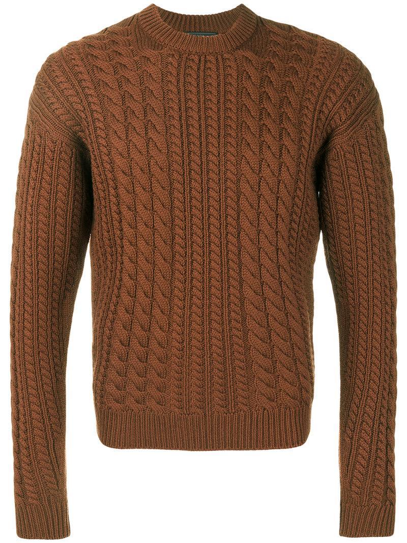 Design Torsadé Pour Homme À Brown Coloris Tricot Pull Prada En Pnw0kO8