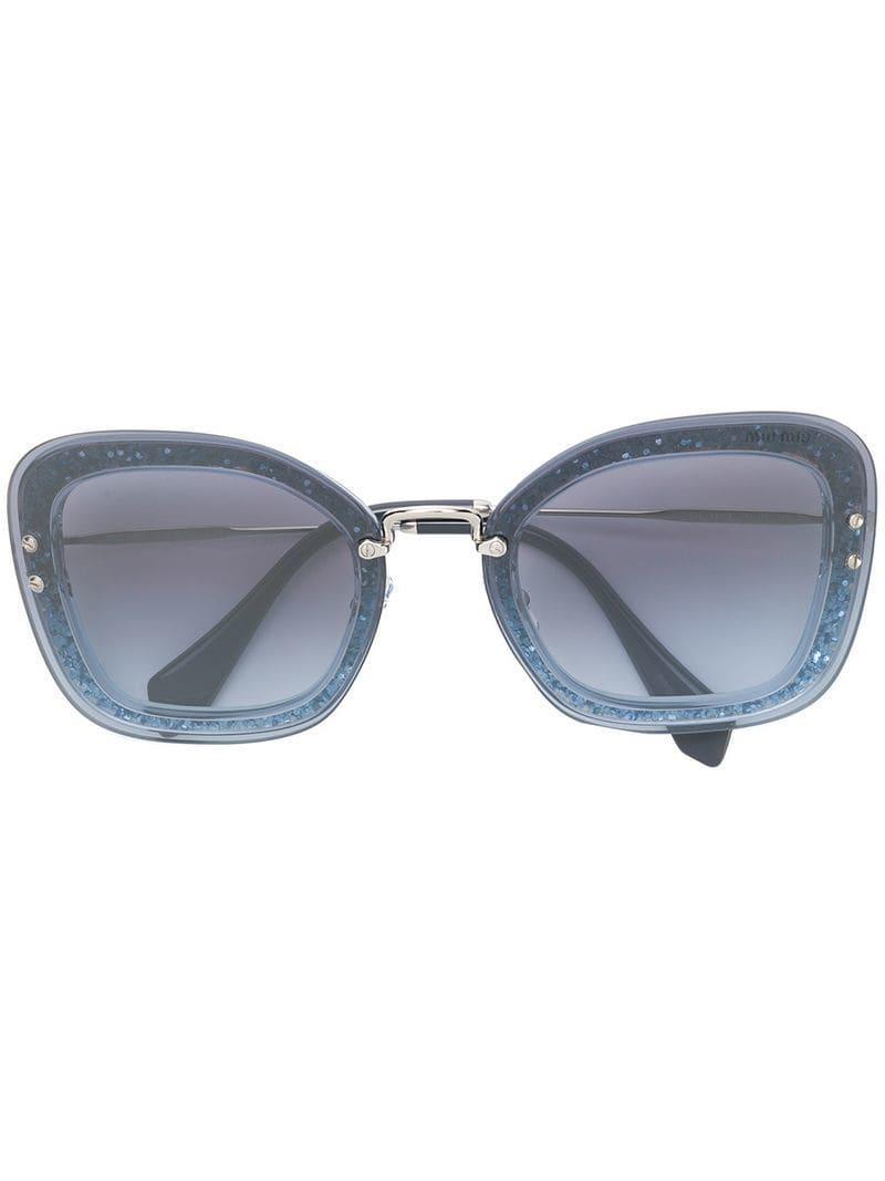 3f1a224f42c4 Lyst - Miu Miu Glitter Frame Sunglasses in Blue