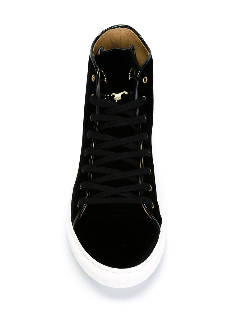 Charlotte Olympia Velvet 'purrrfect' High-top Sneakers in Black
