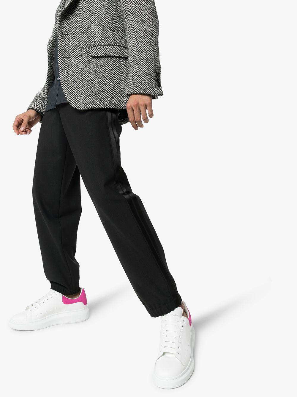 Alexander McQueen Leer Leren Sneakers in het Wit voor heren