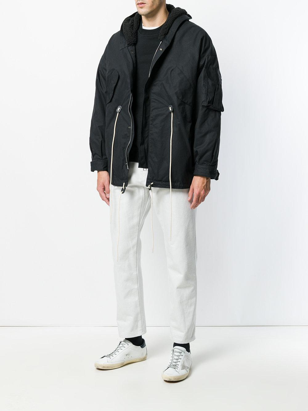 Represent Cotton Cargo Hooded Jacket in Black for Men