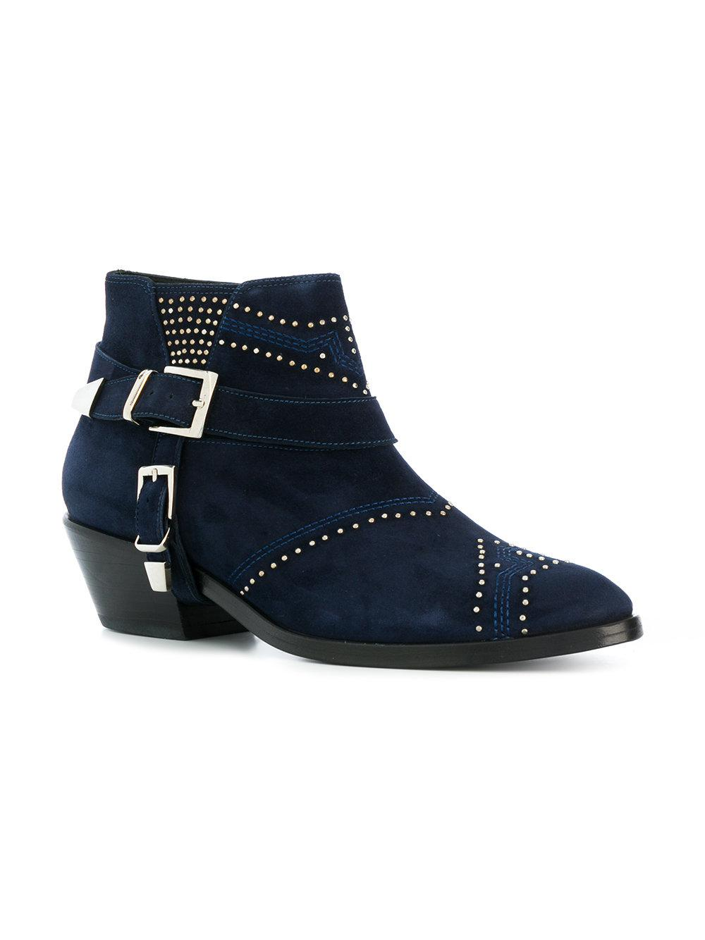 Anine Bing Suede Bianca Cowboy Boots in Blue