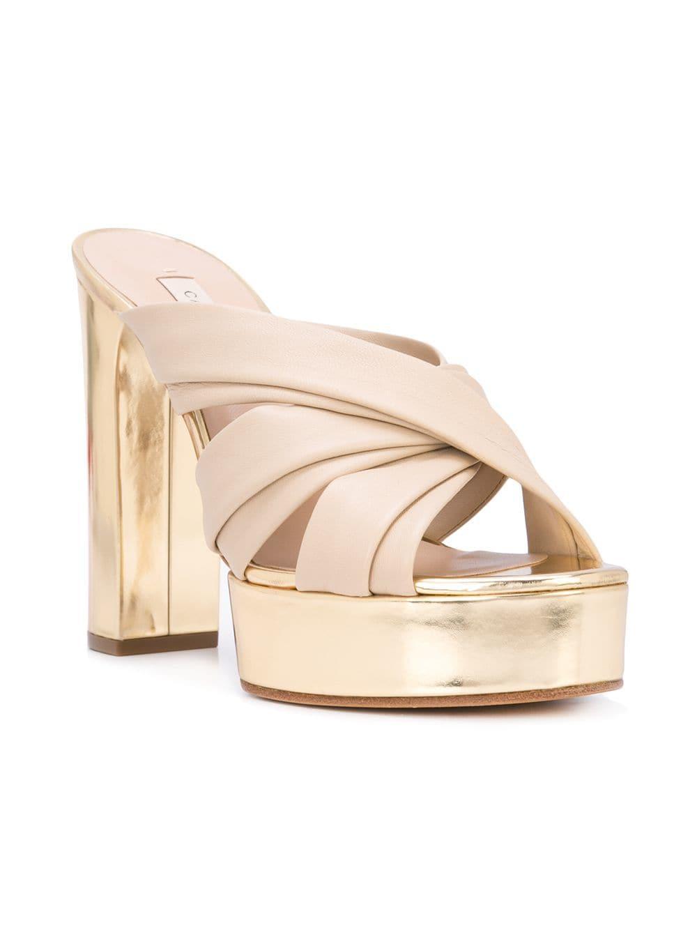 304af91b02 Lyst - Casadei Platform Slip-on Sandals in Natural
