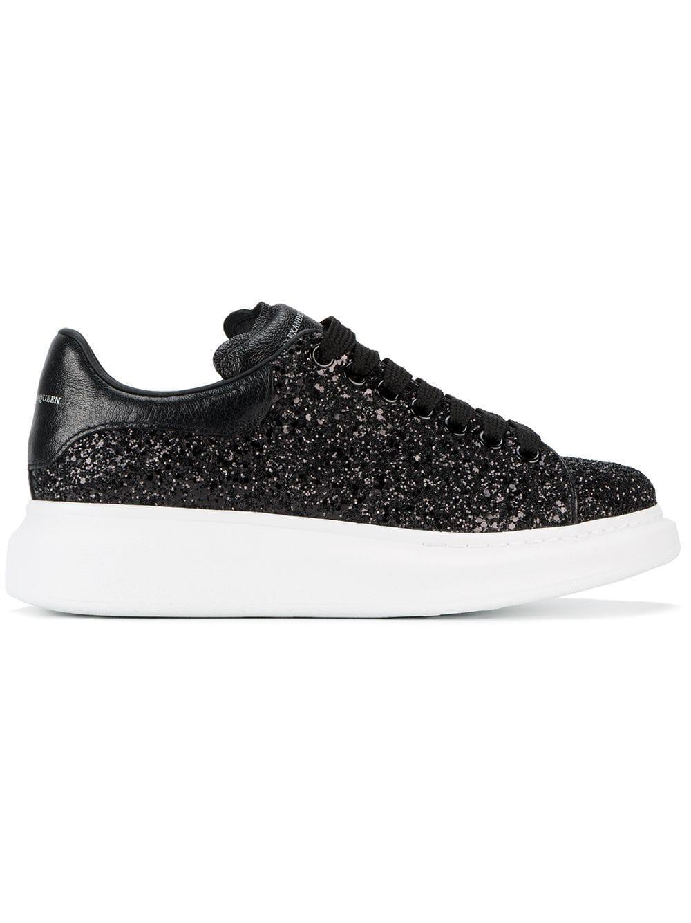 e55f239941c3 Alexander McQueen - Black Glitter Platform Sneakers - Lyst. View fullscreen