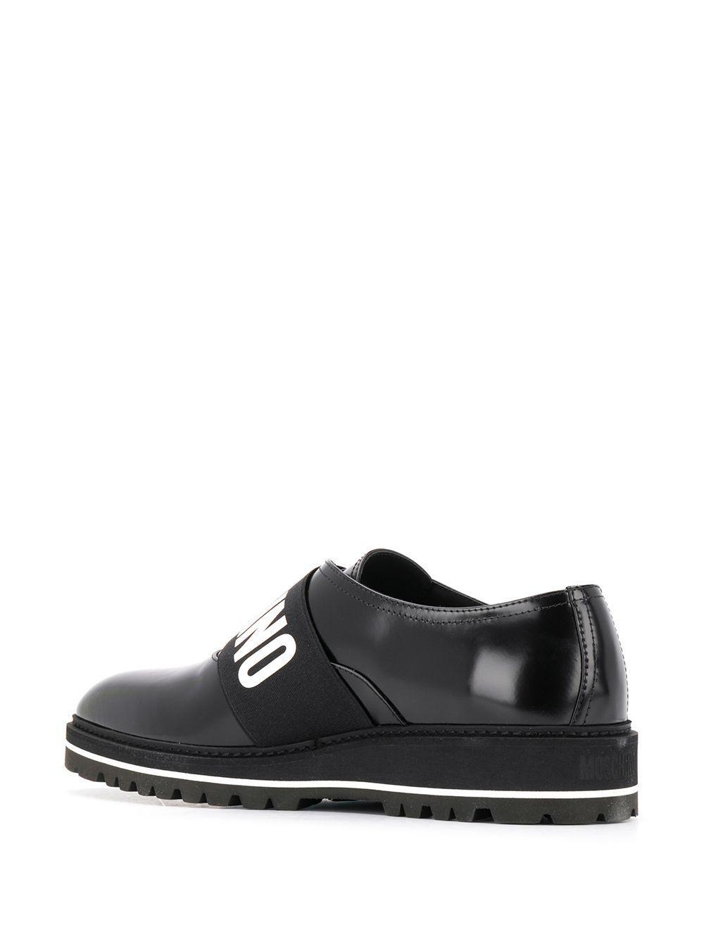 Zapatos derby con cinta del logo Moschino de Cuero de color Negro para hombre