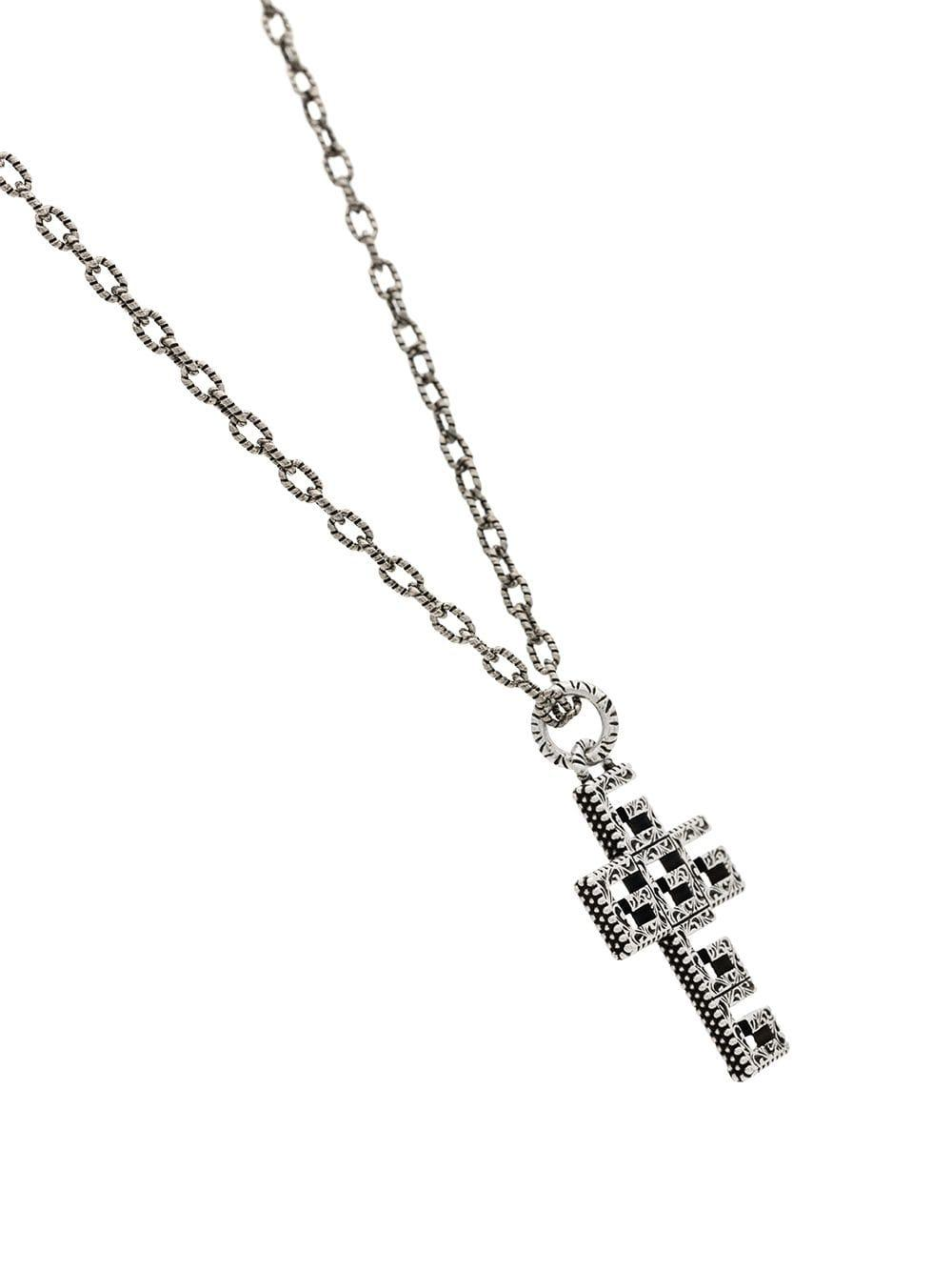 8744b6c6f Gucci Silver Plated Square G Cross Necklace in Metallic for Men - Lyst