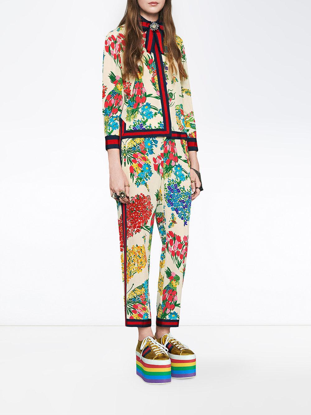 79a50018ea1 Lyst - Chemise à fleurs Gucci