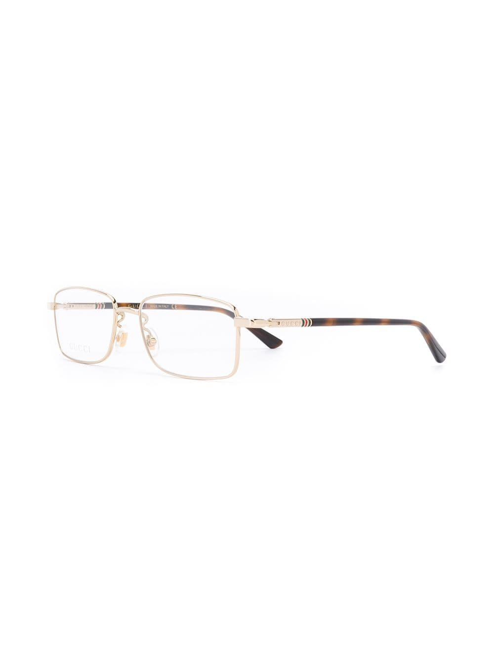 9c51ce7445510 Lyst - Gucci Rectangle Frame Glasses in Metallic for Men