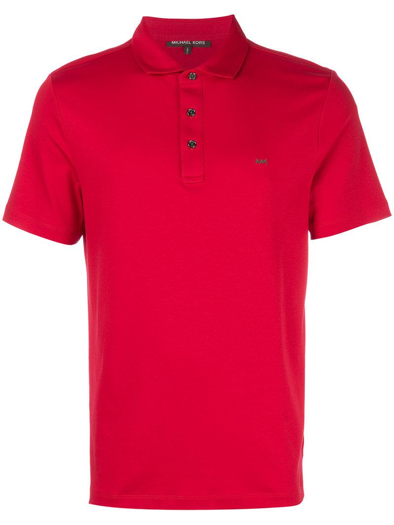 Michael kors classic polo shirt in red for men lyst for Michael kors mens shirts sale